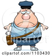 Clipart Depressed Chubby Caucasian Mail Man Postal Worker Royalty Free Vector Illustration