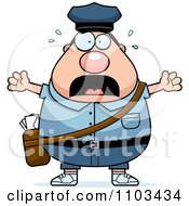 Clipart Stressed Chubby Caucasian Mail Man Postal Worker Royalty Free Vector Illustration