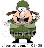 Clipart Chubby Caucasian Army Woman With An Idea Royalty Free Vector Illustration by Cory Thoman