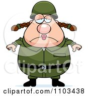 Clipart Depressed Chubby Caucasian Army Woman Royalty Free Vector Illustration by Cory Thoman