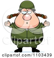 Clipart Careless Shrugging Chubby Caucasian Army Woman Royalty Free Vector Illustration by Cory Thoman