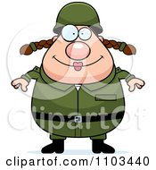 Clipart Happy Chubby Caucasian Army Woman Royalty Free Vector Illustration
