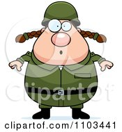 Clipart Surprised Chubby Caucasian Army Woman Royalty Free Vector Illustration by Cory Thoman