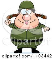 Clipart Friendly Waving Chubby Caucasian Army Woman Royalty Free Vector Illustration by Cory Thoman
