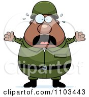 Clipart Stressed Chubby Black Army Man Royalty Free Vector Illustration by Cory Thoman