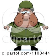 Clipart Depressed Chubby Black Army Man Royalty Free Vector Illustration