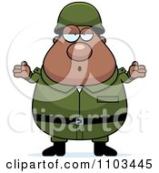 Clipart Careless Shrugging Chubby Black Army Man Royalty Free Vector Illustration by Cory Thoman
