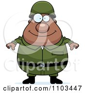 Clipart Happy Chubby Black Army Man Royalty Free Vector Illustration