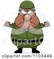 Clipart Mad Chubby Black Army Man Royalty Free Vector Illustration by Cory Thoman