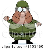 Clipart Friendly Waving Chubby Black Army Man Royalty Free Vector Illustration by Cory Thoman