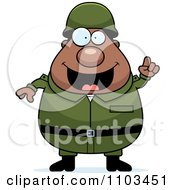 Clipart Chubby Black Army Man With An Idea Royalty Free Vector Illustration by Cory Thoman