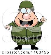 Clipart Chubby Caucasian Army Man With An Idea Royalty Free Vector Illustration