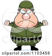 Clipart Mad Chubby Caucasian Army Man Royalty Free Vector Illustration