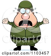Clipart Stressed Chubby Caucasian Army Man Royalty Free Vector Illustration