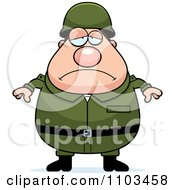 Clipart Depressed Chubby Caucasian Army Man Royalty Free Vector Illustration