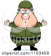 Clipart Careless Shrugging Chubby Caucasian Army Man Royalty Free Vector Illustration