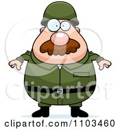 Clipart Chubby Caucasian Army Man With A Mustache Royalty Free Vector Illustration