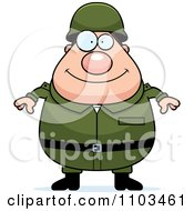 Clipart Happy Chubby Caucasian Army Man Royalty Free Vector Illustration