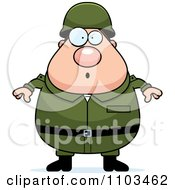 Clipart Surprised Chubby Caucasian Army Man Royalty Free Vector Illustration