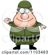 Clipart Friendly Waving Chubby Caucasian Army Man Royalty Free Vector Illustration