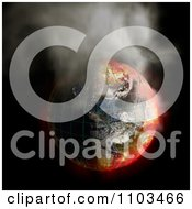 Clipart 3d Burning Irradiated Earth With A Grid Smoking On Black 1 Royalty Free CGI Illustration