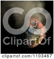 Clipart 3d Burning Irradiated Earth With A Grid Smoking On Black 2 Royalty Free CGI Illustration