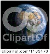 Clipart 3d African Globe On Black Royalty Free CGI Illustration