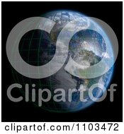 Clipart 3d Globe Featuring The Americas A Grid And Clouds On Black Royalty Free CGI Illustration