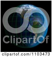 Clipart 3d Globe Featuring The Americas With A Grid On Black Royalty Free CGI Illustration