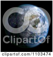 Clipart 3d Globe Featuring Asia A Grid And Clouds On Black Royalty Free CGI Illustration