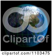 Clipart 3d Globe Featuring Asia With A Grid On Black Royalty Free CGI Illustration