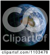 Clipart 3d Globe Featuring Australia With Clouds And A Grid On Black Royalty Free CGI Illustration