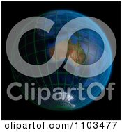 Clipart 3d Globe Featuring Australia With A Grid On Black Royalty Free CGI Illustration