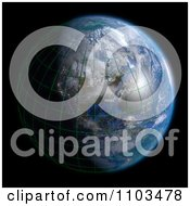 Clipart 3d Globe Featuring North America With A Grid And Clouds On Black Royalty Free CGI Illustration