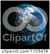 Clipart 3d Globe Featuring North America With A Grid On Black Royalty Free CGI Illustration