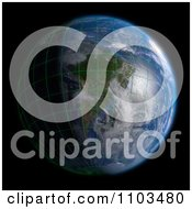 Clipart 3d Globe Featuring South America With A Grid And Clouds On Black Royalty Free CGI Illustration