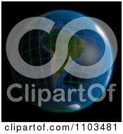 Clipart 3d Globe Featuring South America With A Grid On Black Royalty Free CGI Illustration