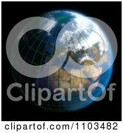 Clipart 3d Globe Featuring Europe With A Grid And Clouds On Black Royalty Free CGI Illustration
