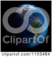 Clipart 3d Globe Featuring The Americas On Black Royalty Free CGI Illustration