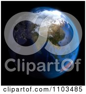 Clipart 3d Globe Featuring Asia On Black Royalty Free CGI Illustration