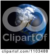 Clipart 3d Globe Featuring North America On Black Royalty Free CGI Illustration