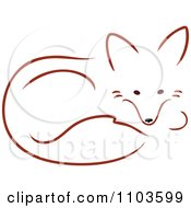 Clipart Cute Red Fox Resting In A Curled Position Royalty Free Vector Illustration