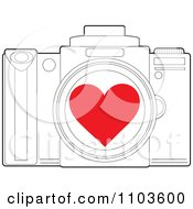 Red Heart Over An Outlined Camera