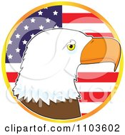 Bald Eagle Profile Over An American Flag Circle