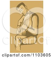 Clipart Seated Male Guitarist And Strumming In Brown Royalty Free Vector Illustration by Any Vector