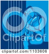 Clipart Seated Male Guitarist And Strumming In Blue Royalty Free Vector Illustration by Any Vector