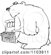 Outlined Bear Carrying A Picnic Basket And Wine