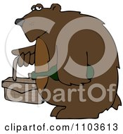 Clipart Bear Carrying A Picnic Basket And Wine Royalty Free Vector Illustration