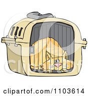 Clipart Scared Orange Cat In A Pet Carrier Royalty Free Vector Illustration