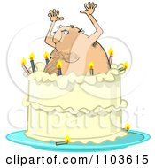 Clipart Hairy Man Popping Out Of A Birthday Cake Royalty Free Vector Illustration by djart